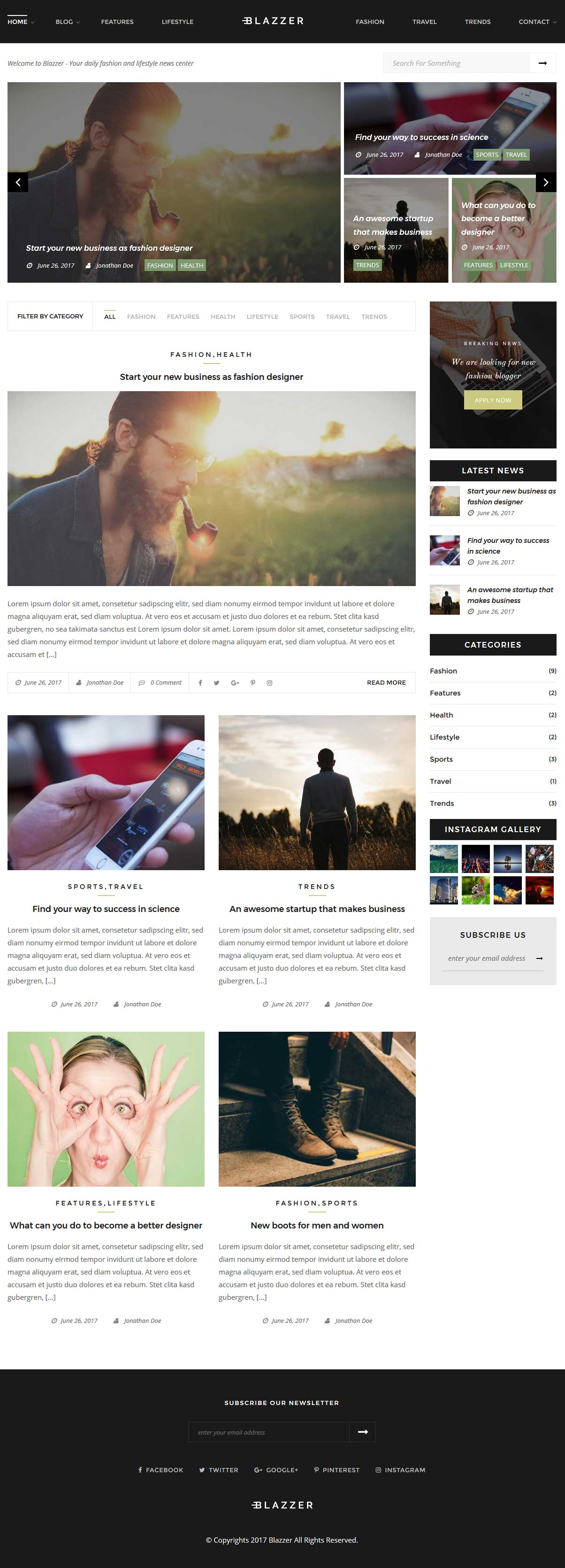 Blazzer - Personal/Fashion Blog WordPress Theme