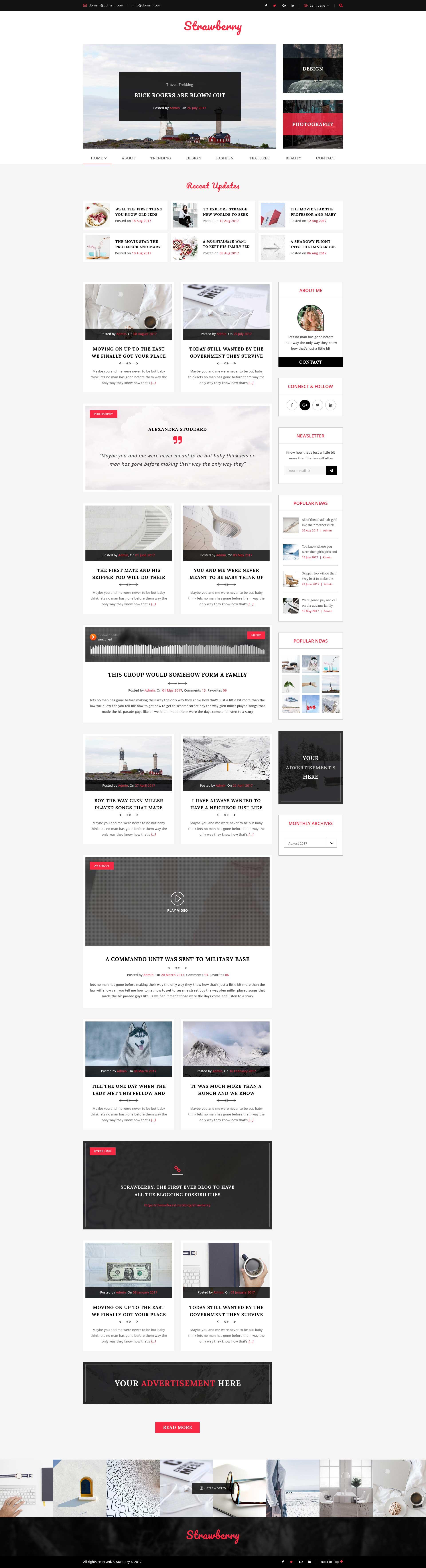 Strawberry - Minimal Blog HTML Template